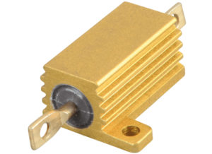 Power resistor with finned aluminum housing.