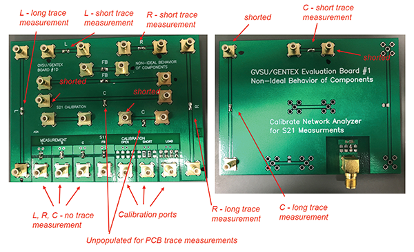 PCB boards used for impedance measurements
