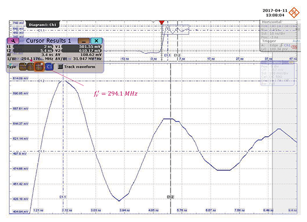 Voltage at the switching node with a C= 68 pF capacitor added