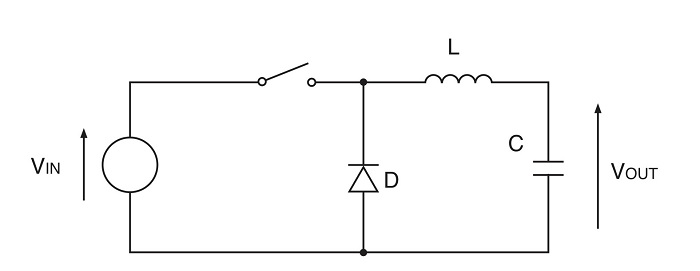 A simple switching DC-DC converter.