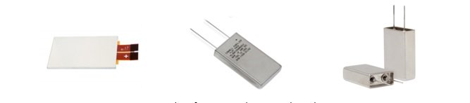 Examples of prismatic aluminum electrolytic capacitors.