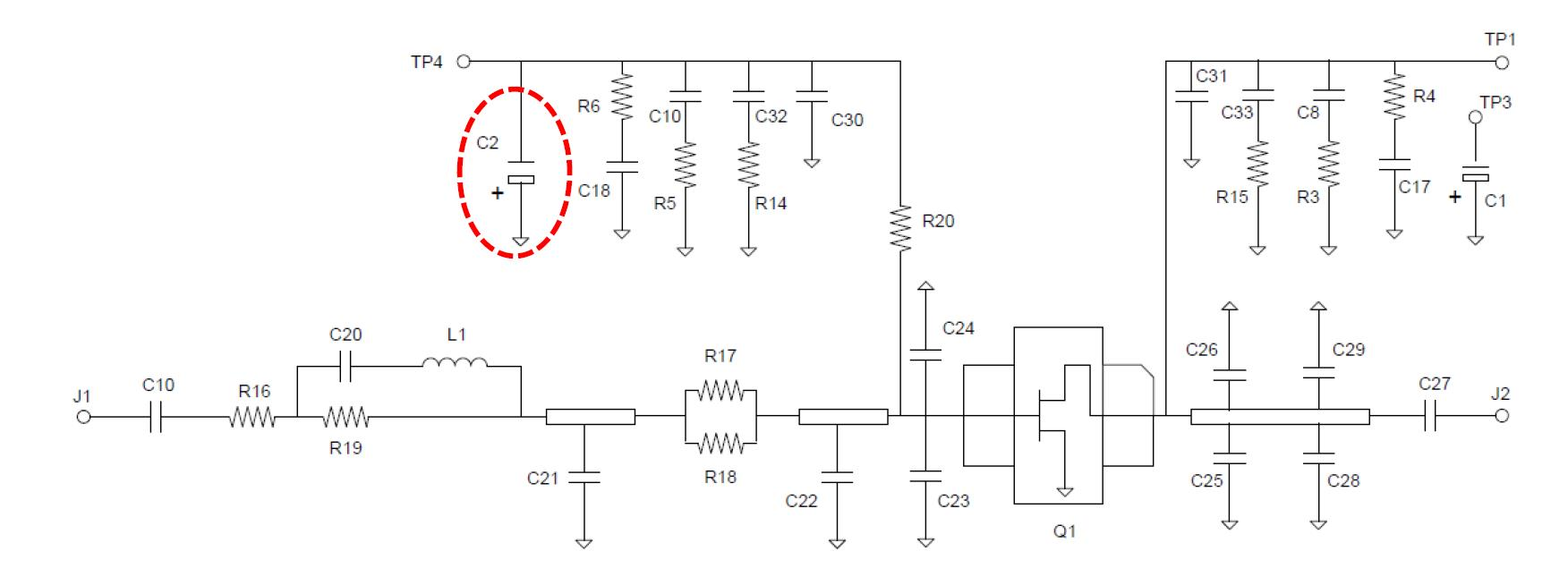 Circuit diagram of GaN QPD1008 connection as an amplifier for frequency range from 0.96 GHz to 1.215 GHz;