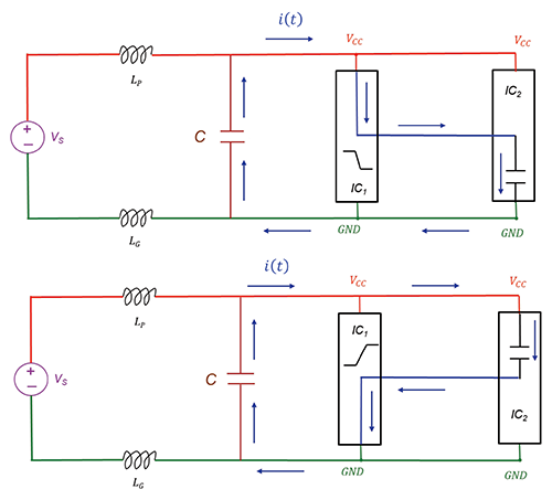 Decoupling capacitor placed near the switching IC