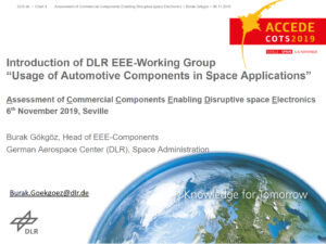 "Introduction of DLR EEE-Working Group ""The usage of automotive components in space applications"