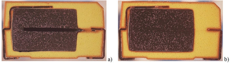Figure 5. Cross-sections of capacitors after 1000 hours at 150 ºC. SN3 failed marginally at 200 mohm (a) and SN1 failed catastrophically at 2 ohm (b)