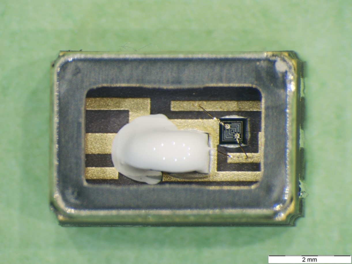 Picture 1: Internal view of an optocoupler after delid. The internal organics are the white material