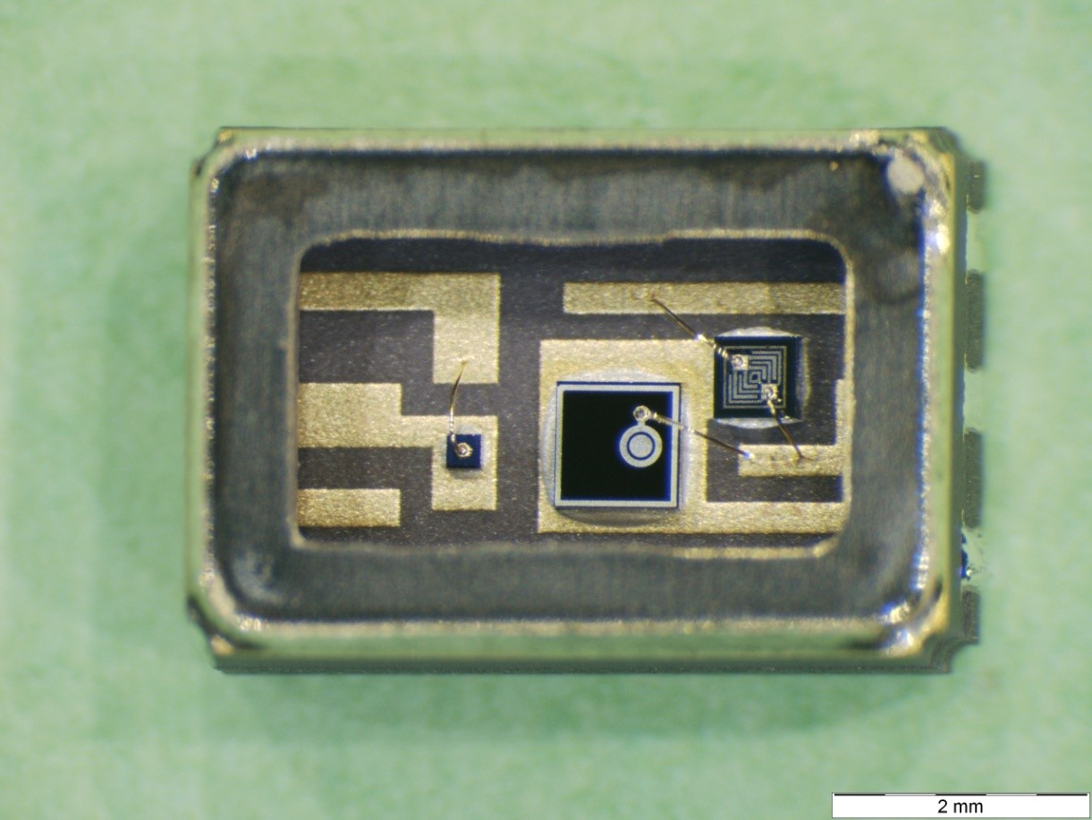 Internal view of an optocoupler after removing the internal organics