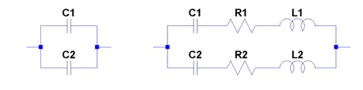 Equivalent schematic diagram of two parallel-connected capacitors.