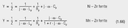 The parameters of the parallel equivalent circuit are Lp, Rp, Cp and possibly r (for manganese-zinc-ferrites).