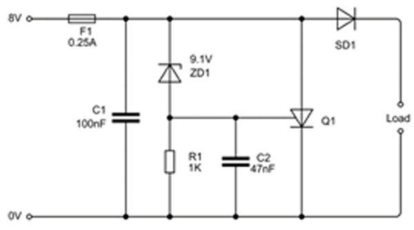 This crowbar circuit operates from an 8-V supply.