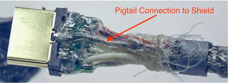 An example of a poor cable shield termination in an HDMI cable.