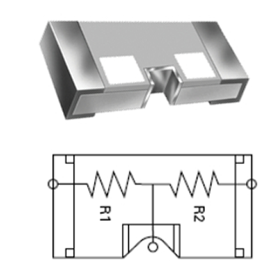 Shown is a cost-effective, 1206-size, high-temperature divider package (PFC-HT Series).