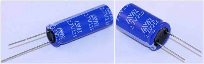 Figure 8: AVX SCC Series self-balancing supercapacitors rated for 2.7V and 11F (left) and 2.7V and 25F (right).