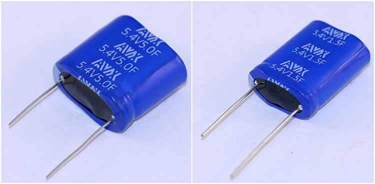 AVX SCM Series supercapacitor modules rated for 5.4V and 5.0F (left) and 5.4V and 1.5F (right).