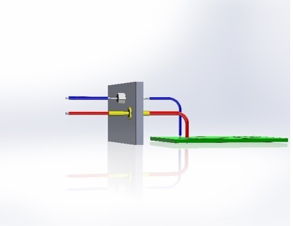 F1 Figure 1: A cross-sectional view of typical bulkhead filters. The blue wire enters the box wall through a bolt-in bulkhead filter, while the red wire enters the box wall through a solder-in bulkhead filter