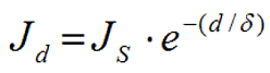 Jd is the current density at depth d into the conductor